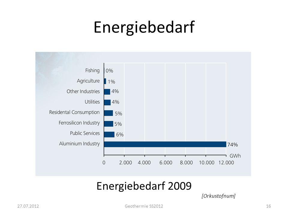 Energiebedarf Nutzung der geothermalen Energie 2009 [Orkustofnum]